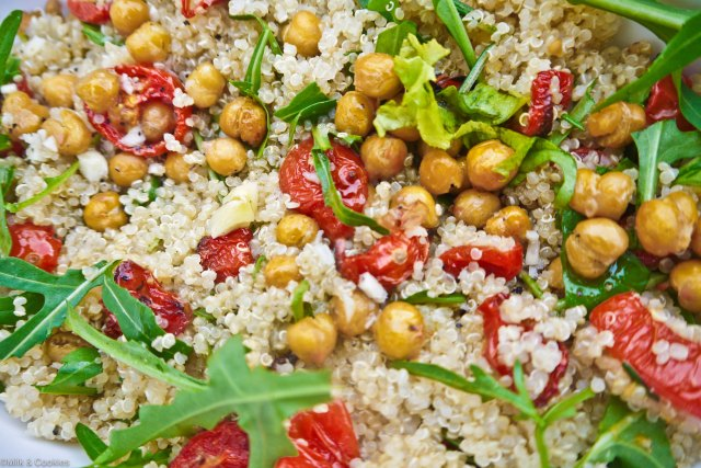 Quinoa Salad with Roasted Tomato, Rocket, and Roasted Chickpeas | Milk & Cookies