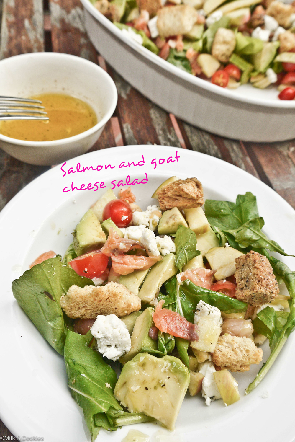 Salmon and Goats Cheese Summer Salad Recipe |Milk and Cookies